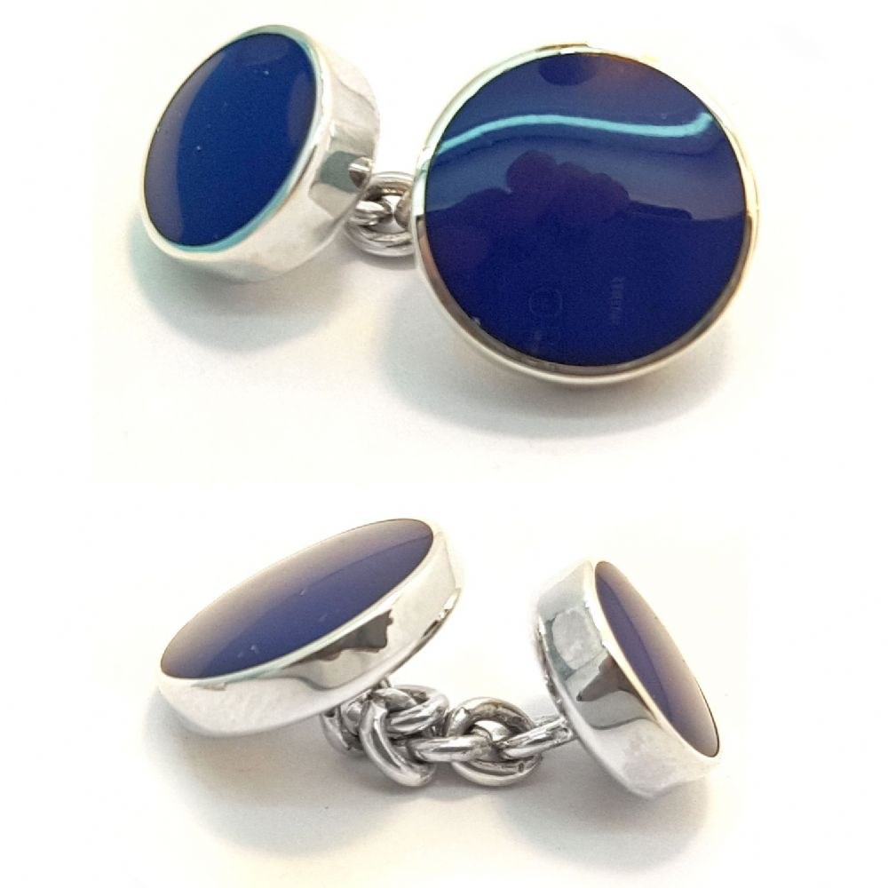 Blue Lapis Double Sided Sterling Silver Cufflinks -London Silver